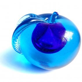 Murano Sommerso Cobalt Blue Apple Paperweight Figure