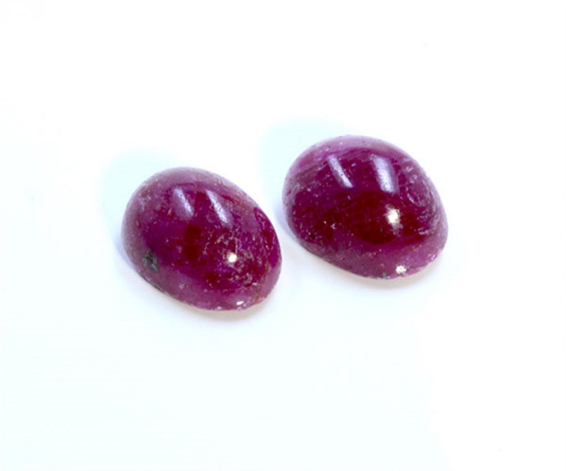 10 ct & up Cabuchon Ruby Oval Shaped ctw 2Pcs