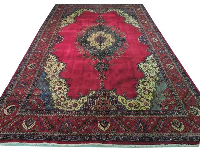 10x16 Handmade Butterfly Persian Tabriz Rug Red Wool