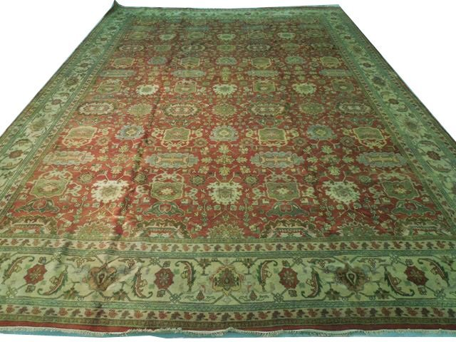 14x19 Handmade Oriental All-Over Agra Rug Copper Red