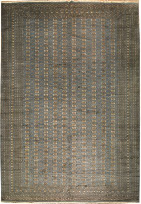 12x18 Handmade Traditional Mori Bokhara Rug Slate Blue