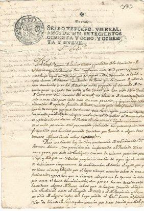 1789 Manuscript Ds Peru Don Jose Ramon Loayza