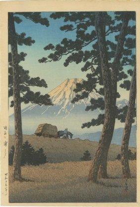 Hasui Kawase - Mount Fuji Seen From Tagonoura, Evening
