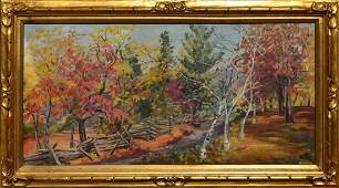"""""""Fall in the Country,"""" o/c, signed Mary B. Fox LR"""