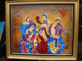 Org Dorit Levi Xlg Dlx Oil Painting Music Dance Trio W
