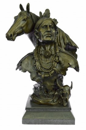 Western Art Native American Chief With His Horse Bronze