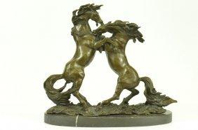 Three Wild Horses Western Bronze Marble Statue