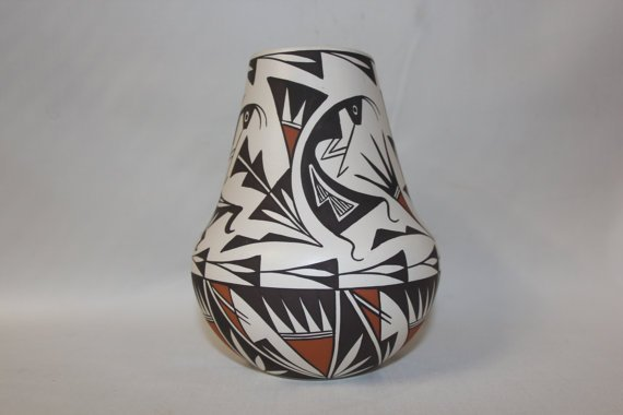 Native American Acoma Pottery Jar by B.L. Cerno