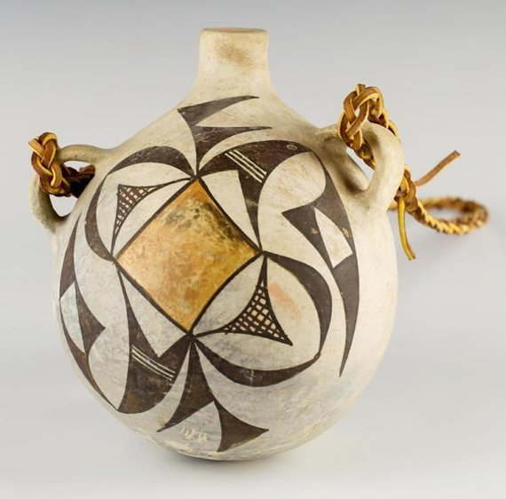 Native American Acoma Polychrome Pottery Canteen C1930s