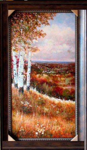 Acrylic Original Framed Colorful Birch Tree Landscape