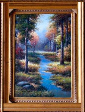 Water Stream Original Signed Painting Custom Framed