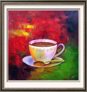 Modern Bold Abstract Coffee Brew Hand Signed Painting