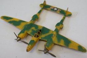 Vintage Hubley P-38 Camoflage Fighter Plane Twin Engine