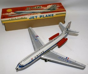 Vintage Tin Lithographed Friction United Airlines Jet