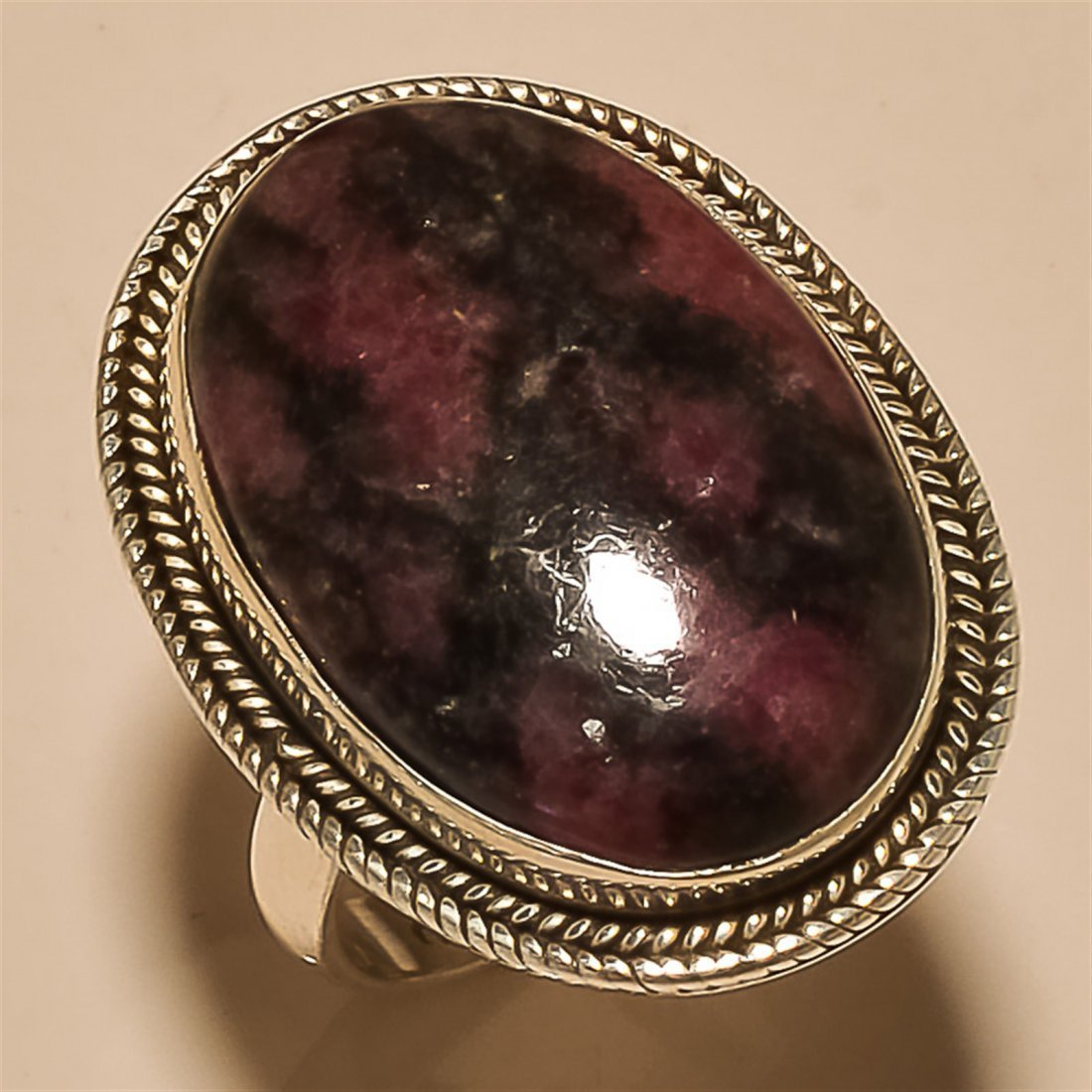 Rhodonite RING Solid Sterling Silver