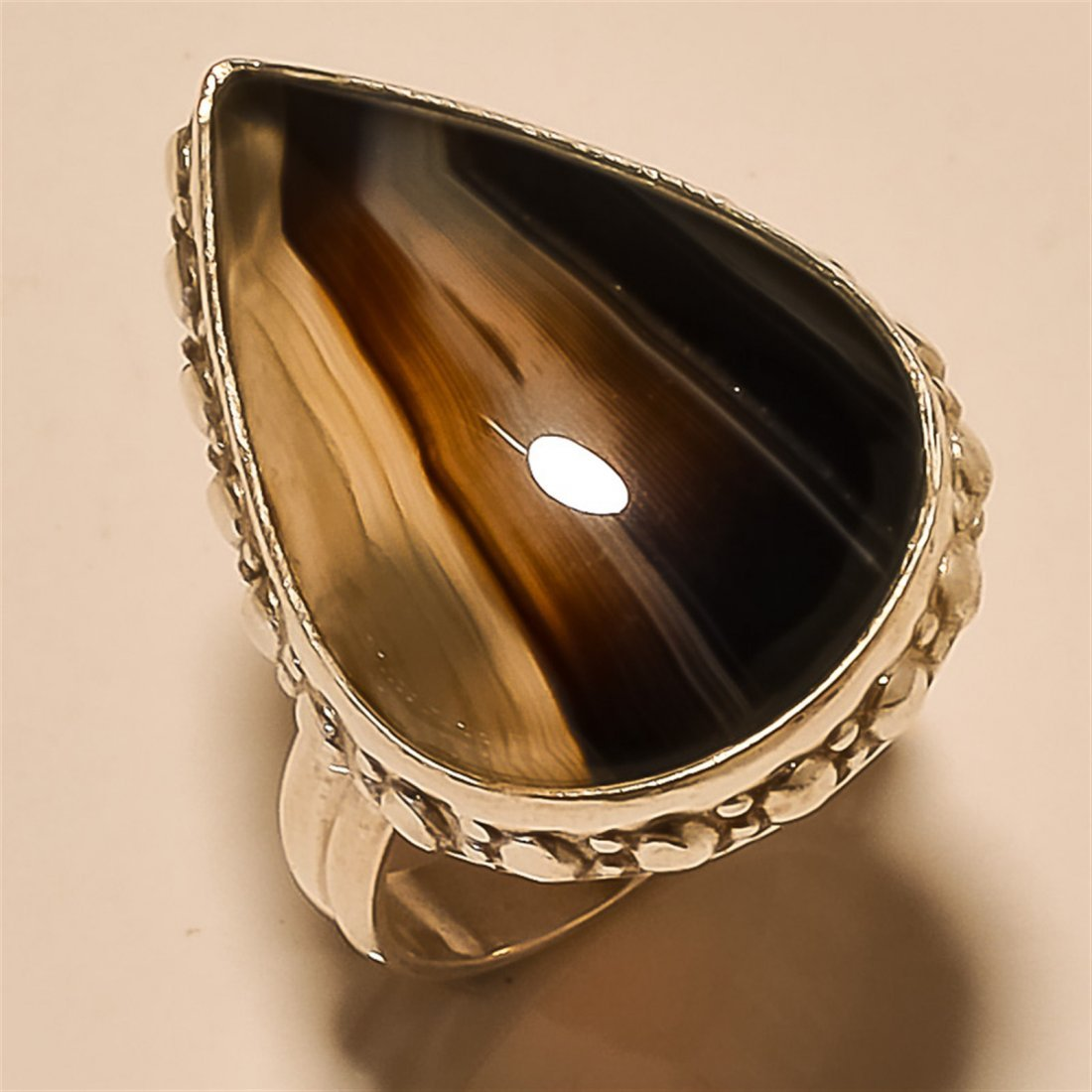Banded Agate RING Solid Sterling Silver