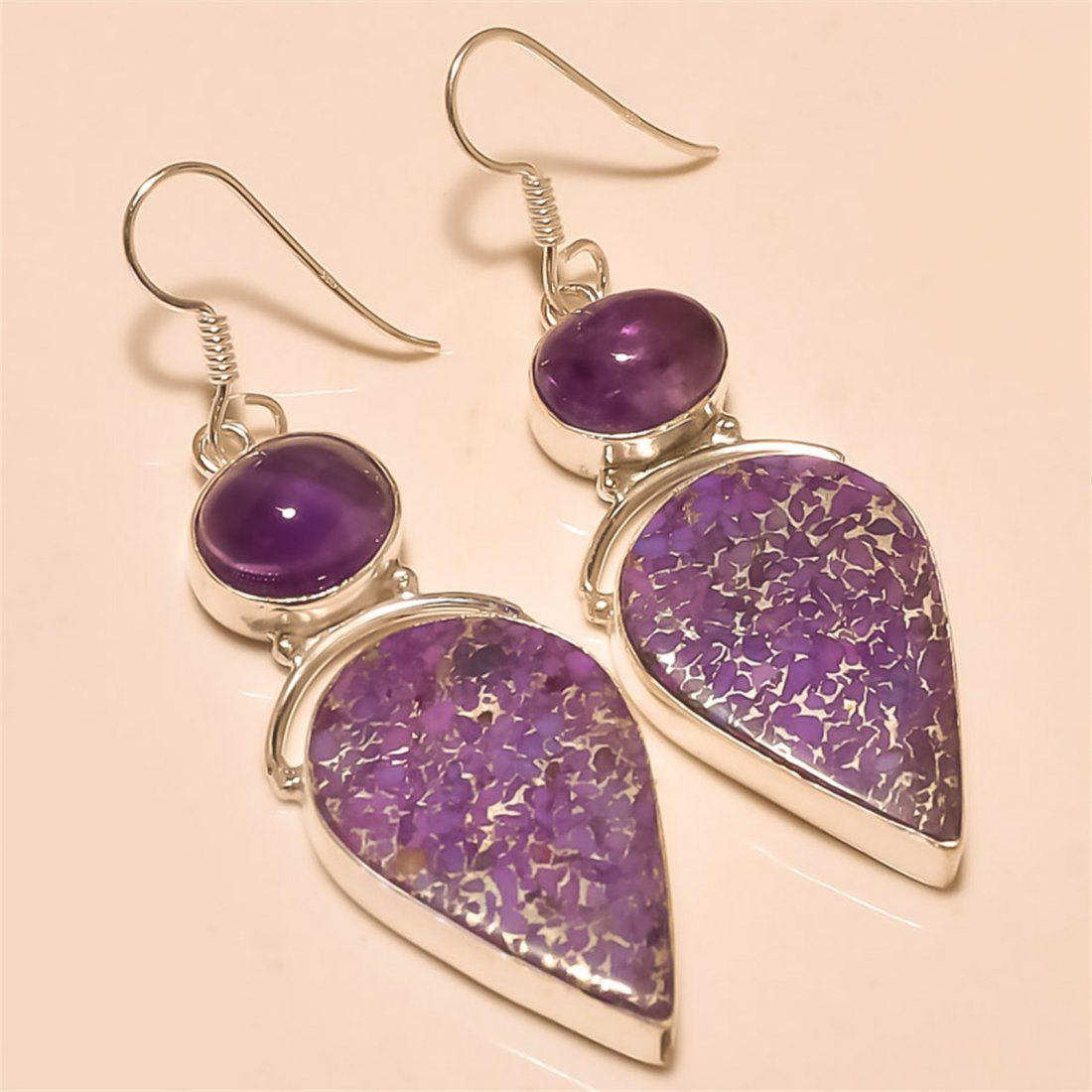 Purple Copper Turquoise/Amethyst Earring Solid Sterling