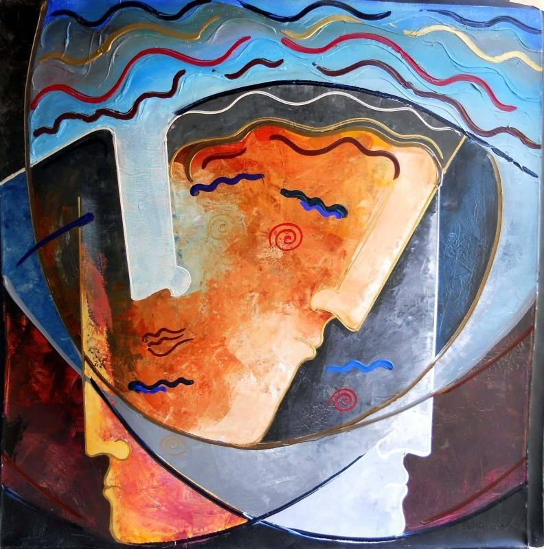 Fantastic Dramatic Abstract Faces Colorful Modern Art - 2