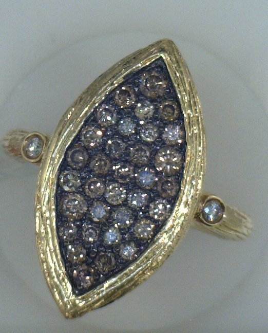 Antique Look Diamond with set in 14K Yellow Gold