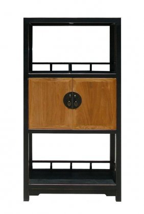 Oriental Moon Face Black Brown Book Case Display