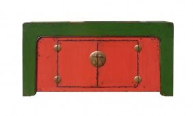 Chinese Red Green Console Buffet Table Cabinet Wk1734s