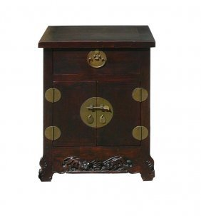Chinese Brown Moon Face Foo Dog Carved End Table