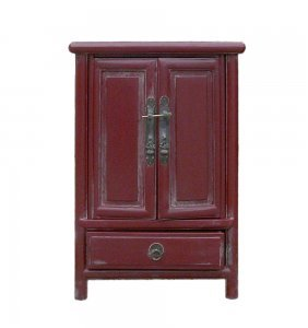 Chinese Rustic Red Minor A Shape End Table Nightstand