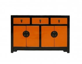 Orange Black Lacquer Sideboard Buffet Console Table