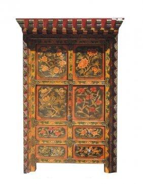 Tibetan Antique Flower Hand Paint Carving Storage