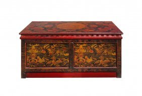 Tibetan Red Black Gold Graphic Low Cabinet Side Table