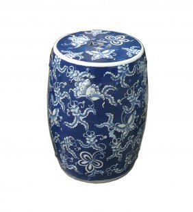 Chinese Blue & White Porcelain Round Butterflies Stool