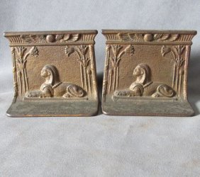 C1920s Egyptian Revival Art Deco Sphinx Bookends
