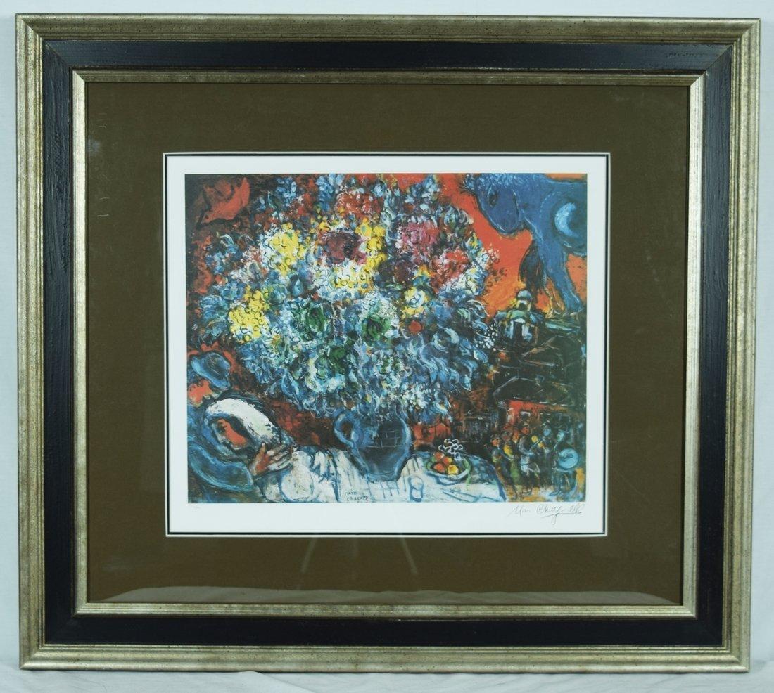 """Chagall """"Bouquet de Fleurs et Amants"""" Print Plate"""
