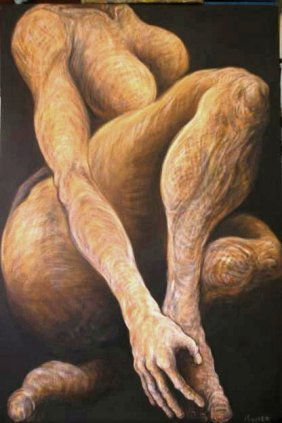 Reclining Nude-original Oil On Canvas-human Form