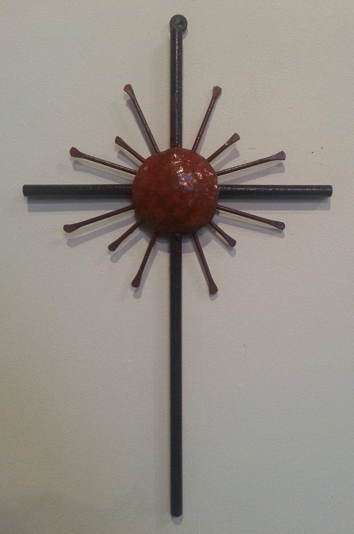 Cross with Sun-Welded Sculpture by Ricardo Beceda