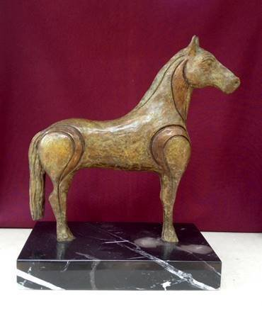 Tojan Horse-Bronze and Marble Sculpture by Antonino