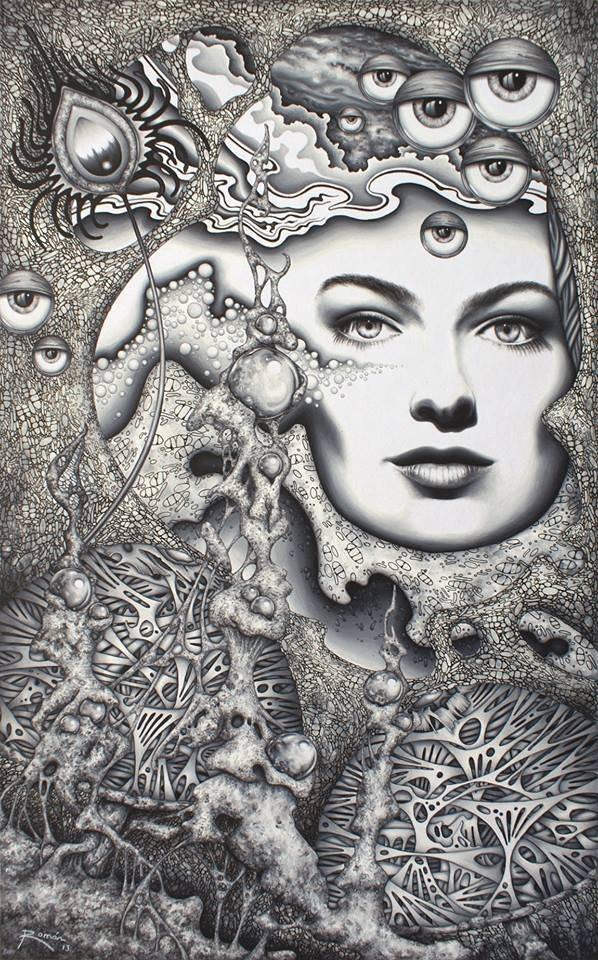 Hipnotic Garden-Mixed Media Original by Roman