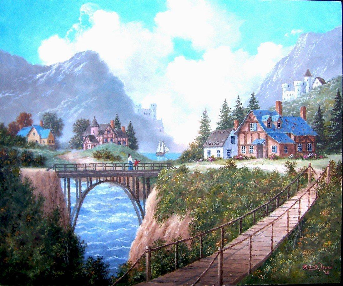 Land Bridges-American Artist Dennis Lewan-Original