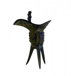 Chinese Green Bronze-ware Tri-legs Wine Cup Display