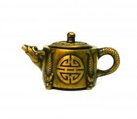 Chinese Handmade Metal Bronze Color Dragon Fish Teapot
