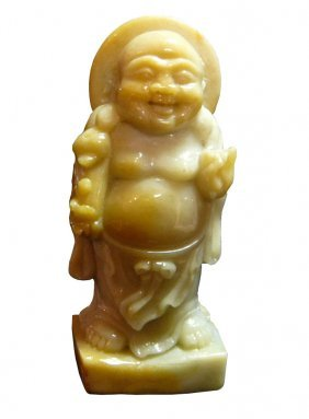 Chinese Yellow Nephrite Happy Buddha Small Statue