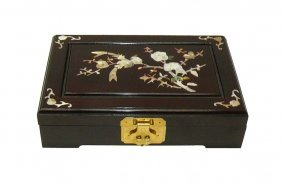 Chinese Handmade Rosewood Box With Mother Pearl Inlay