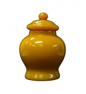 Chinese Solid Yellow Peking Glass Mini Temple Jar