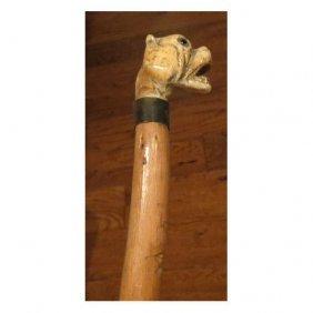 Superb Antique Carved Dog Head Handle Walking Stick