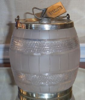 Antique Silver Plate Biscuit Jar W Etched Glass Barrel