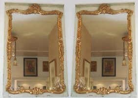 Pair Of Antique Italian Paint Decorated & Giltwood