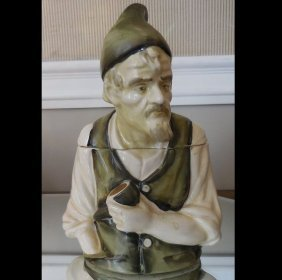 Rare Vintage Ardalt Porcelain Humidor Tobacco Jar Green