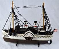 Vintage style metal paddle wheel boat model