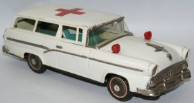 Vintage 1956 Tin Red Cross Ford Ambulance 2-door