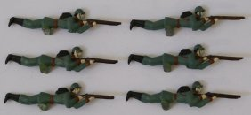 6 French Military Lead Hand Painted Toy Infantry